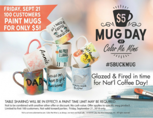 $5 mug day promotion September 21